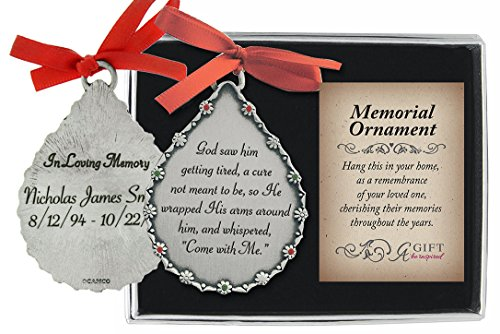 Personalized Cathedral Art Tear-Shaped Memorial Ornament (God Saw Him Getting Tired)