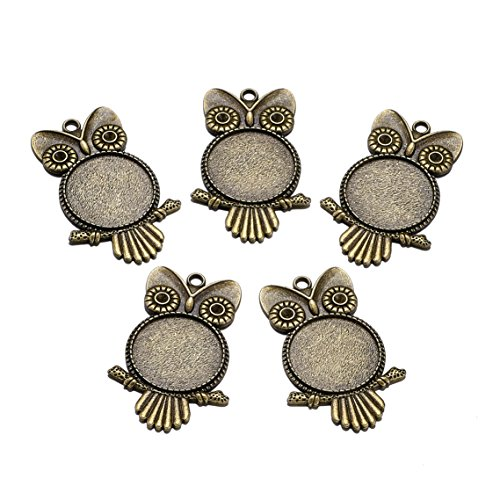 Beadthoven 10pcs Vintage Tibetan Style Alloy Owl Pendant Cabochon Bezel Settings, Nickel Free, Antique Bronze, Flat Round Tray: 25mm; 55x36x3mm, Hole: - 36mm Pendant