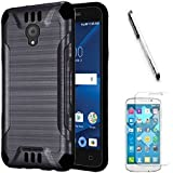 """AT&T PREPAID Alcatel idealXCITE / Alcatel ideal Xcite Gophone (5"""") Case, Luckiefind Slim Brush Texture Hybrid Defender Armor Protective Case Cover with Stylus Pen & Screen protector (Brush Black)"""