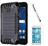 Alcatel IdealXCITE Case, Alcatel CameoX Case, Alcatel Verso Case, Alcatel Raven LTE Case, Luckiefind Slim Brush Texture Hybrid Defender Armor Protective Case Cover Accessory (Brush Black)