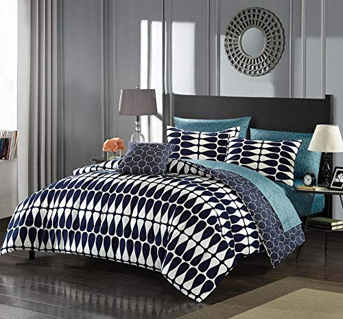 - Indigo Ivory Full Bed in A Bag Set,Abstract Geometric Twin Bedding,Decorative Luxurious Navy Blue Teal Beautiful Reversible Feature Neutral Tones Circle Printed Sheet Elegant Soft Dark Rich Bold