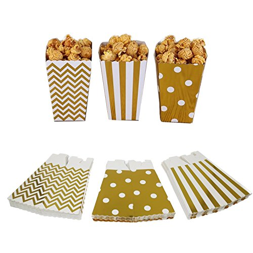 Xuan Hu Zhe Popcorn Boxes, Gold Stamping Trio (36 Pack) Polka Dot, Chevron, Stripe Treat Boxes- Small Movie Theater Popcorn Paper Bags for Dessert Tables & Wedding Favors