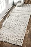 nuLOOM Moroccan Blythe Runner Rug, 2' 8' x 8', Grey/Off-white