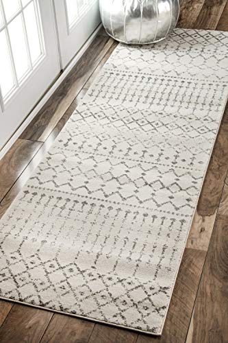 """nuLOOM Moroccan Blythe Runner Rug, 2' 8"""" x 8', Grey/Off-white - Made in Turkey PREMIUM MATERIAL: Crafted of durable synthetic fibers, it has soft texture and is easy to clean SLEEK LOOK: Doesn't obstruct doorways and brings elegance to any space - runner-rugs, entryway-furniture-decor, entryway-laundry-room - 51EOCyOZo4L -"""