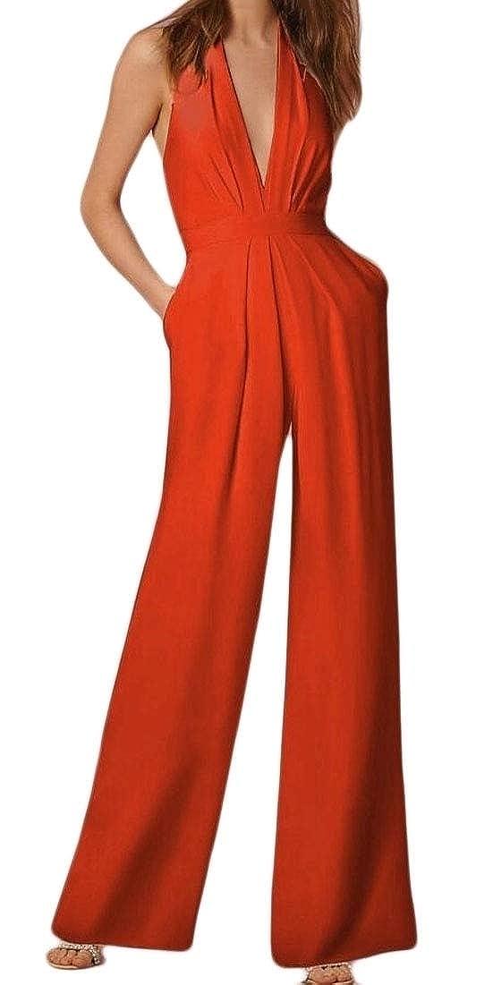 Women Deep V Neck Backless Halter Jumpsuit Sleeveless Wide Long Pants Rompers