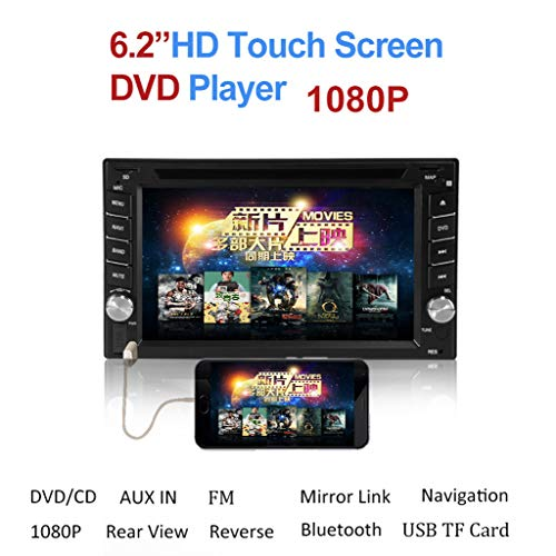 Sayolala Car DVD Player 6.2Double 2DIN Mirror Link Car Audio Stereo CD Player Bluetooth Wireless USB SD FM TV Radio (Car Stereo Sanyo)