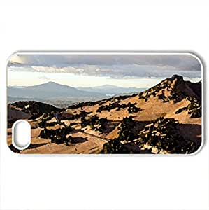 road to crater lake park in oregon - Case Cover for iPhone 4 and 4s (Mountains Series, Watercolor style, White)