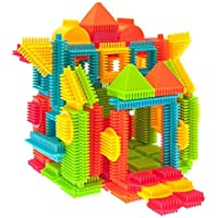 PicassoTiles PTB120 120-Pieces Bristle Shape 3D Building Blocks Tiles Construction Playboards