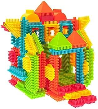 PicassoTiles 120-Pcs Bristle Shape 3D Building Blocks Tiles