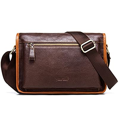 226b8b46da Contacts Leather Men Messenger Crossbody Shoulder Bag Travel Handbag (Dark  Brown) cheap