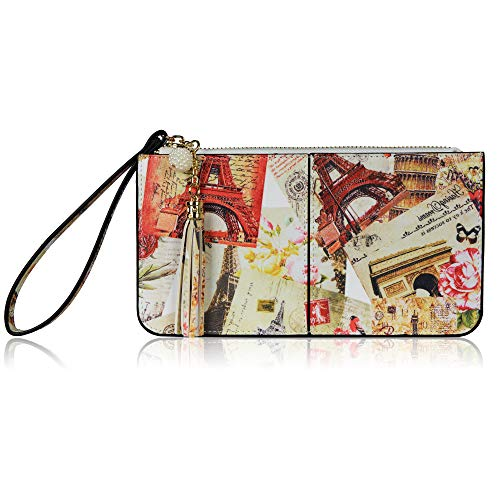 Befen Soft Leather Wristlet Phone Wristlet Wallet Clutch Tassels Wristlet with Exquisite Tassels/Wrist Strap/Card slots/Cash pocket- Fit iPhone 6 Plus/Samsung Note 5-Vintage Newspaper -