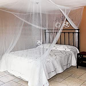 Mosquito Net With Drawstring Backpack And Hanging Kit, 2 Openings, Up To  King Size Bed (White)