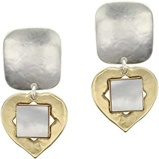product image for Rounded Rectangle with Teardrop and Mother of Pearl Clip on Earring in Brass and Silver