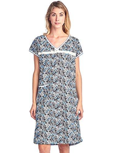 Casual Nights Women's Cotton Floral Short Sleeve Nightgown - Blue Black - Medium