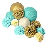 Paper Jazz 12pcs paper pom pom lantern honeycomb ball for wedding birthday baby shower graduation meeting event party decoration (MINT GREEN GOLD)