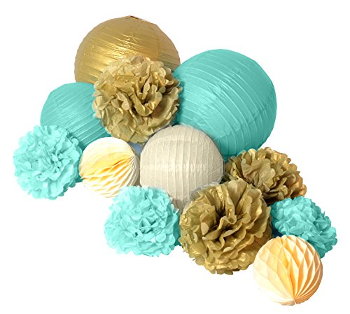 Paper Jazz 12pcs paper pom pom lantern honeycomb ball for wedding birthday baby shower graduation meeting event party decoration (MINT GREEN GOLD) by paper jazz