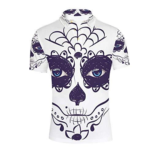 Day of The Dead Decor Durable Polo Shirt,Dia de Los Muertos Sugar Skull Girl Face with Mask Make up for Men,XXL ()