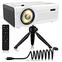 QKK 2400Lumens Mini Projector - Home Theater Projector for Indoor & Outdoor Movies & Video Games, Compatible with TV Box, PS4, DVD Player, Smartphones, 50,000 Hours LED Projector (White)