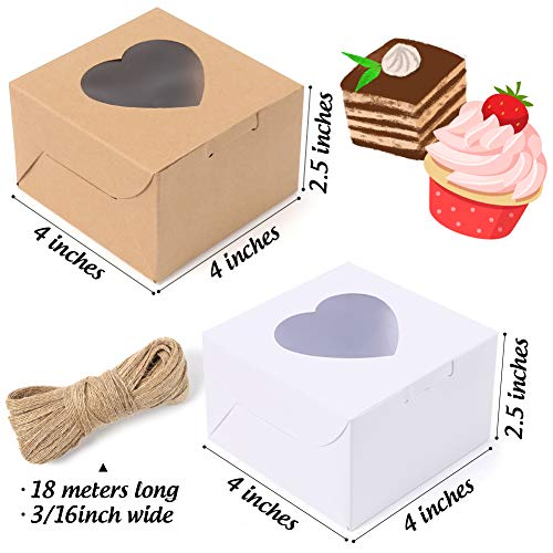 VGoodall 14 PCS White and Brown Bakery Boxes with Window Cupcake Gift Boxe,18M Linen Ribbon for Bakery Wrapping Party Favor Packing
