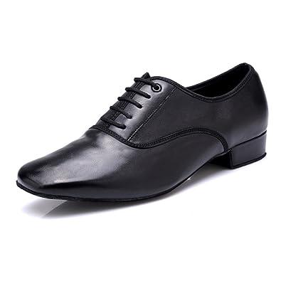 b574706c1515 DLisiting Latin Dance Shoes Mens Black Leather Ballroom Modern Dancing Shoes  (US5.5)