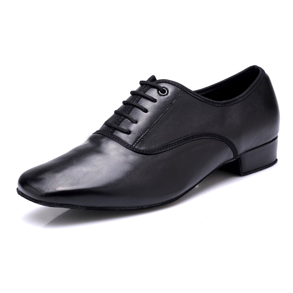 Latin Dance Shoes Mens Black Genuine Leather Ballroom Modern Dancing Shoes (US8) by DLisiting