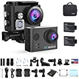 WiMiUS Action Camera 4K HD Sports Camcorder 40M Underwater Cameras WiFi Waterproof Cam 170° Wide Angle 2 LCD Screen 2 Rechargeable Batteries and Accessories Kits, L2, Black