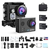 WiMiUS Action Camera 4K HD Sports Camcorder 40M Underwater Cameras WiFi Waterproof Cam 170° Wide Angle Sony Sensor 2'' LCD Screen 2 Rechargeable Batteries and Accessories Kits, L2, Black