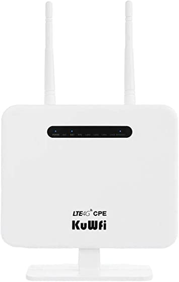 Router 4G LTE, 300Mbps 4G LTE CPE Desbloqueado con Ranura para Tarjeta SIM, Dos Antenas externas 4 LAN LAN versión de Puerto de la UE para 32 usuarios Trabajar con Yoigo/Movistar/Orange/Vodafone: Amazon.es: