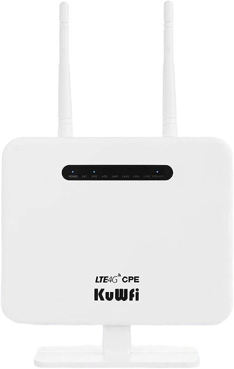 Router 4G LTE, 300Mbps 4G LTE CPE Desbloqueado con Ranura para Tarjeta SIM, Dos Antenas externas 4 LAN LAN versión de Puerto de la UE para 32 usuarios ...