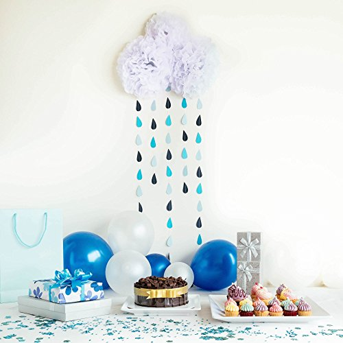 Raindrop Garland and Cloud Baby Shower Decoration Set Includes White Tissue Paper Pom Poms and Rain Garlands Strands - Easy to Assemble and Creates an Adorable Backdrop for Rain and Cloud