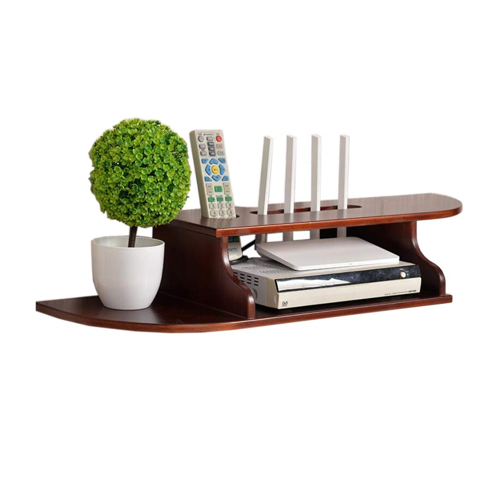 Pine brown red trumpet Set Top Box Shelf Solid Wood Router Storage Box Simple Wall Hanging Wire Finishing Rack, 4 colors (color   Pine White Trumpet)