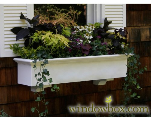 48 Inch XL Cambridge Premier No Rot PVC Composite Flower Window Box w/ 2 Decorative Brackets by Windowbox