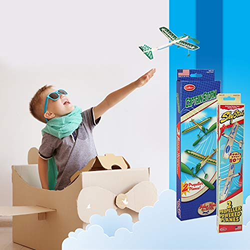 Balsa Wood Airplane Glider and Parachute Man Rubber Band Powered Sky Streak and Captain Storm Twin Packs 5 Piece Set by Guillow (Image #6)