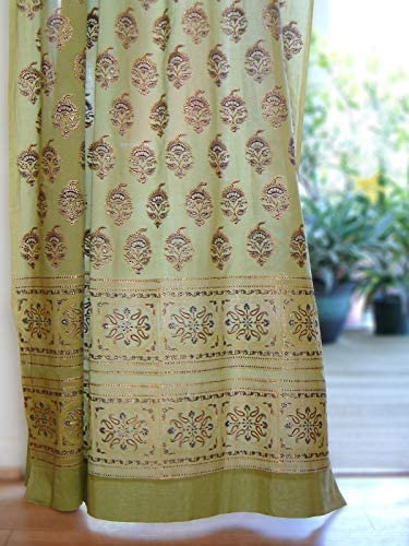 Saffron Marigold Memories of Shalimar Curtain Panel Hand Printed 100 Cotton Voile Semi Sheer Rustic Green Gold Moroccan Curtains 46 x 108