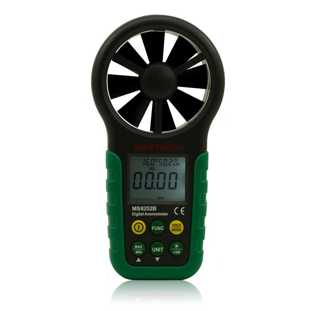 Mastech MS6252B Digital Anemometer Wind Gauge Tester Meter USB Interface with Temp & RH Sensor