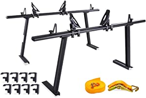 AA Products Model APX25 Fits Toyota Tacoma 2005-On Aluminum Truck Rack with 8 Non-Drilling C-Clamps and Steel Jetty Saddle Kayak Racks with Ratchet Lashing Straps & Bow and Stern Tie Down Straps