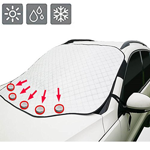 Silver Windshield ([Upgraded Version]Car Windshield Snow Cover & Sun Shade Protector with Storage Pouch, Extra Large & Thick Windproof Magnetic Windshield Cover, Fit for Most Vehicle with Size 72.8