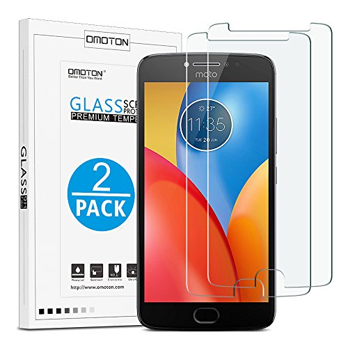 OMOTON Tempered Glass Screen Protector for Motorola Moto E4 Plus, 5.5-Inch, 2 Pack