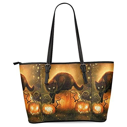 InterestPrint Halloween Cat Women's Leather Tote Shoulder Bags Handbags