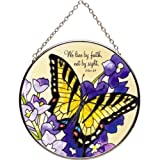 Yellow Swallowtail Butterfly Stained Glass Suncatcher - 2 Cor. 5:7 Scripture