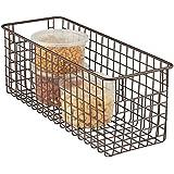 mDesign Tall Wire Storage Basket for Kitchen, Pantry, Cabinet - Bronze