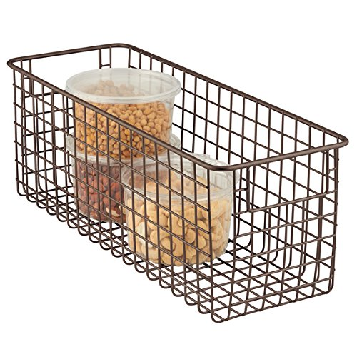 mDesign All Purpose Basket - the Flexible Storage Basket - Wire Basket with Handles - Universally Applicable - Bronze MetroDecor 4807MDK