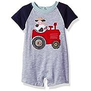 Mud Pie Baby Boys' Shortall One Piece, Tractor, 9-12 Months