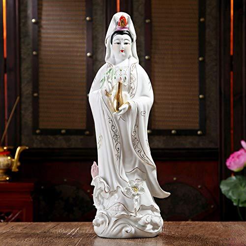 DAJIADS Figurine Figurines Statue Statues Statuette White Porcelain, Guanyin Avalokiteshvara, Buddha Sculpture, Ceramic Ornament, Statue, Kwan-Yin Bodhisattva Height 35Cm