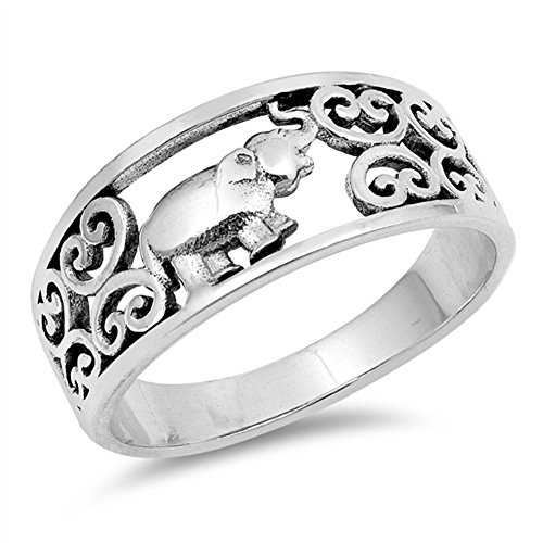 Oxidized Filigree Heart Elephant Ring New .925 Sterling Silver Band Size 5 -