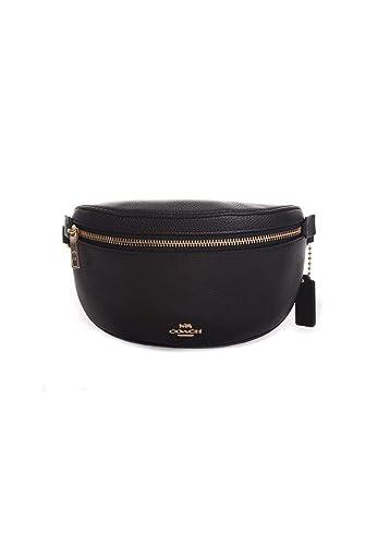 63a4495e31cbc Amazon.com  COACH Women s Polished Pebble Belt Bag Gd Black One Size  Shoes