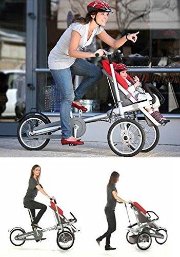Amazon.com : UTK 3 Wheels Folding Mother Baby Bike Stroller Large ...