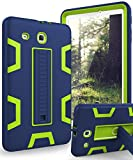 TIANLI Samsung Galaxy Tab E 9.6 Case Anti-Scratch Shockproof Three Layer Full Body Armor Protection with Sturdy Kickstand Anti-Fingerprint,Nave Blue Lemon Yellow