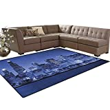 """USA,Carpet,Chigago City Skyline at Night with Tall Buildings Urban Modern Life America Town Scene,Indoor/Outdoor Area Rug,Violet Blue Size:6'6"""" x10'"""