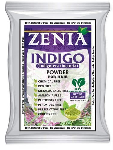 Zenia Indigo Powder (Indigofera Tinctoria) Hair / Beard Dye Color 100 grams